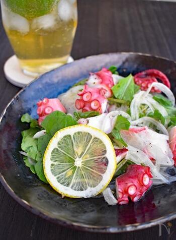 たこと玉ねぎのマリネに、ルッコラをプラス。お酒を楽しみながらの食事にぴったりの前菜としておすすめです。和洋どちらのメニューにも合いそうですね。