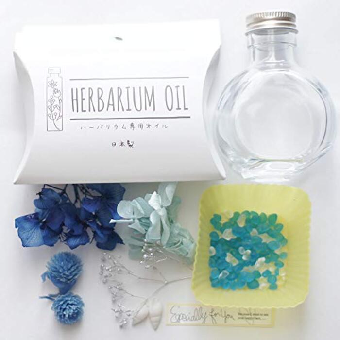 ハーバリウム 手作り キット 丸ボトル 花材 オイル (ブルー)
