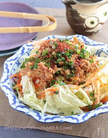 クリーミーな坦々ソースをからめた豚肉を、生の白菜にたっぷりのせて。これ一品でお腹も満足の主役級サラダです。