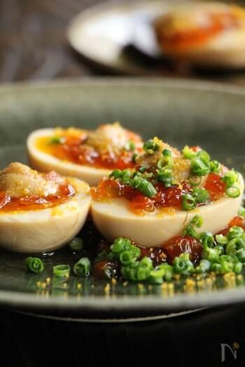 卵に魚卵を贅沢にのせるおつまみ卵。いくらやうに、からすみパウダーと旨みがぎゅっと凝縮された海の幸たっぷりのトッピングで、おもてなしにもぴったり。  ベースになるゆで卵の方にもめんつゆで味をつけて、全体をまろやかにまとめています。日本酒によく合いそうですね。