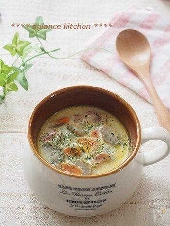 豆乳とごぼうとベーコンは相性抜群!シンプルな材料なのに、旨味と香り、コクを楽しめます。