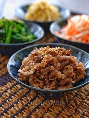 ビビンバ以外に、牛丼やキンパなどにも使えるお肉です。調味料を揉み込んで焼くだけととっても簡単!子供から大人まで大人気の味です。