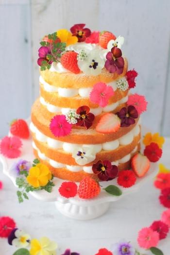 高さ12cmもある豪華なネイキッドケーキは、大きさが異なるケーキを2段重ねにしています。いちごやエディブルフラワーをデコレーションしてとびきり華やかに♪生クリームをしずくのように絞ることで、まん丸の生クリームが可愛いポイントになっています。