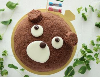 こちらはクマの形をしたズコットです。クラムを全体にデコレーションすることで茶色のケーキに。チョコレートで作ったうるうるとした瞳にキュンとしちゃいますね。