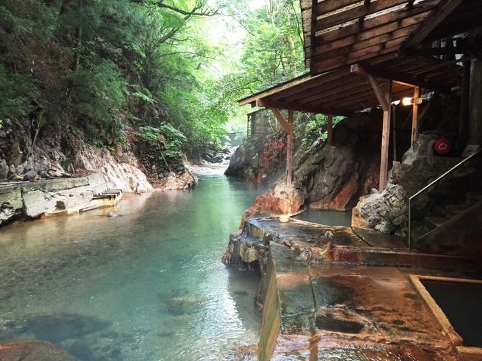 塩原温泉では、どの宿でも自然に囲まれながらゆったりとした時間を過ごすことができます。なかでも、300年続く老舗旅館・明賀屋本館の露天風呂はイチオシ!渓谷を流れる箒川のすぐそばに露天風呂があり、自然と一体になったような感覚を楽しみながら、源泉かけ流しの温泉つかることができます。館内には5つの源泉、10のお風呂があり、1つの宿にいながら湯めぐり気分も楽しめますよ♪