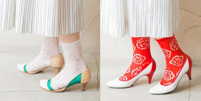 履くとお花の模様が透けて際立つシースルーソックス。白はさりげなく、赤は差し色としても活躍しそうです。素肌感が涼しげで、春から初夏までおすすめです。