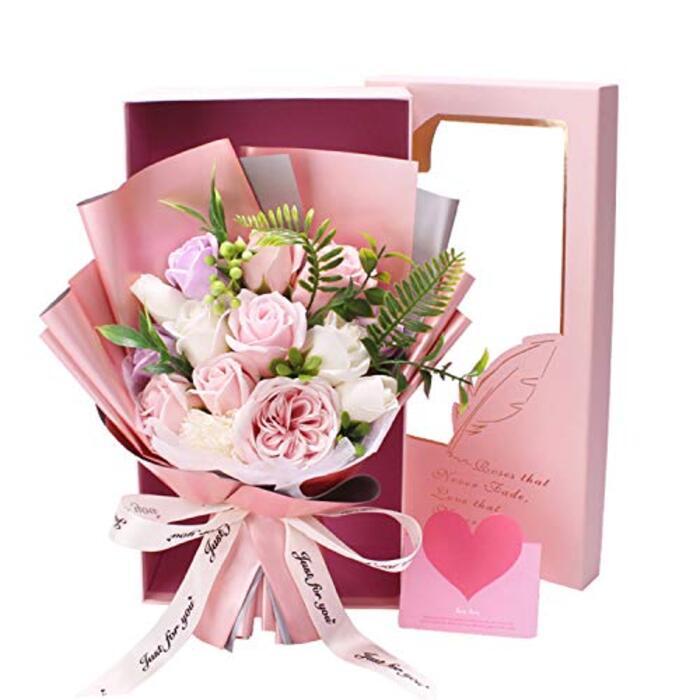 ソープフラワー バラ 花束  メッセージカード付き