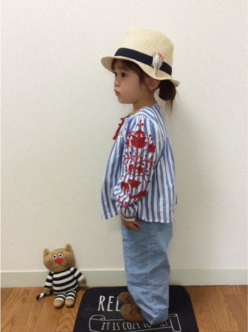 刺繍ブローチは、帽子のアクセントにもおすすめ。麦わら帽子だけでなく、ニット帽やベレー帽にもよく合います。