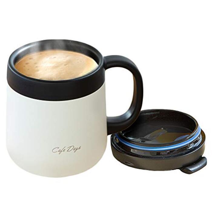 アイリスオーヤマ マグボトル 保温 保冷 ホワイト 0.38L ふた付き 2WAY飲み口 カフェデイズ CD-2WT380