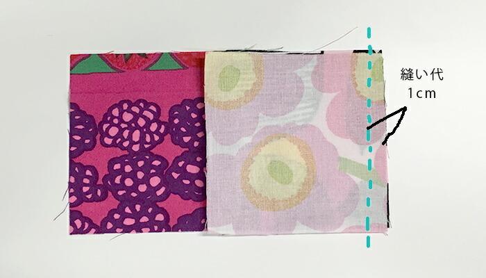 布を中表に合わせ、縫い代を1㎝にして、細かいぐし縫いで縫い合わせます。
