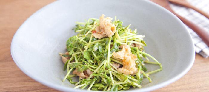 豆の香りが楽しめる豆苗と、ナッツの香ばしい香りが絶妙なレシピ。甘辛く炒めた豚こまが入るので副菜でもメインでもうれしいレシピです。ポイントは生の豆苗をサラダ感覚でたっぷりいただけること。生野菜をしっかり摂りたいときにもおすすめなレシピです。