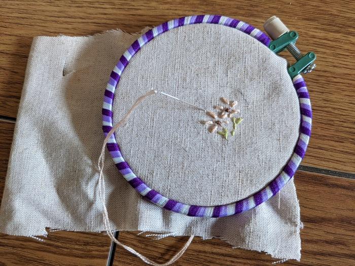 ① 生地に上のパーツを置き、チャコペンで型を取ります。型の内側に納まるように刺繍をしてください。
