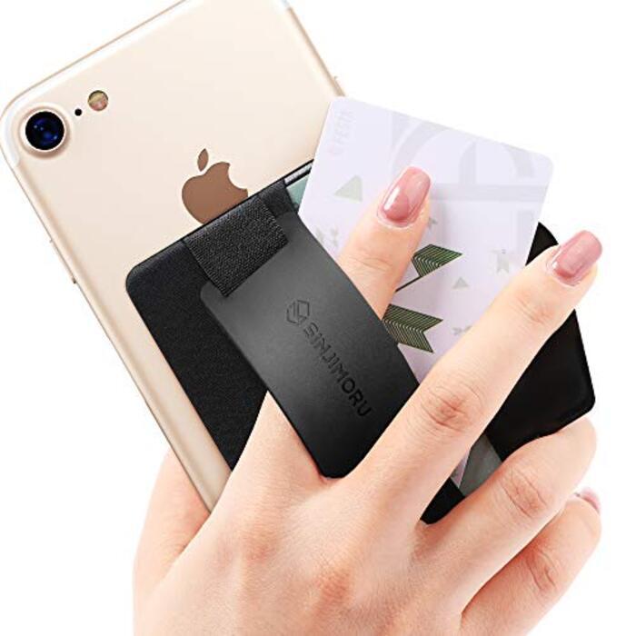 Sinjimoru スマホスタンド カード入れ、シンジポーチB-GRIP Silicone ブラック