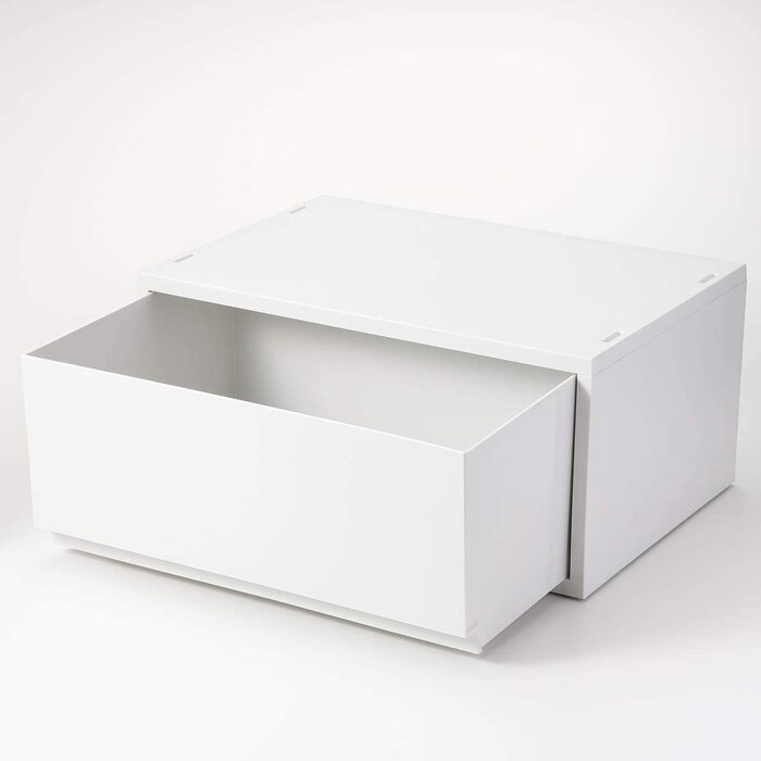 無印良品 ポリプロピレンケース・引出式・横ワイド・深型・ホワイトグレー 約幅37×奥行26×高さ17.5cm