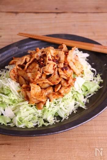 味付けは食べるラー油のみのシンプルさ。ピリ辛味がクセになる味で、夕食にはもちろんおつまみにもぴったり。