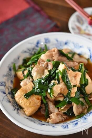 木綿豆腐でかさ増ししたボリューミーな一品。ニラをプラスしてスタミナもアップ。