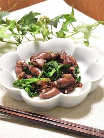 ホタルイカとわさび菜をオリーブオイルとにんにくでさっと炒めた、ごはんが進むおかずレシピ。おつまみにもぴったりです。