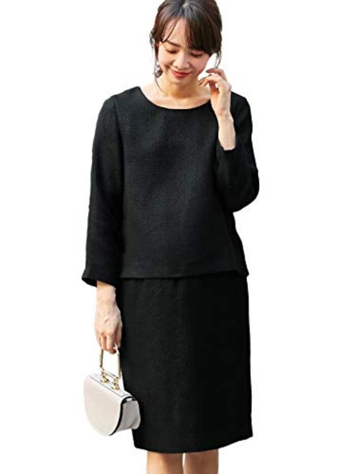 ANGELIEBE エンジェリーベ マタニティ 授乳口付 ツィード トップス & 産前産後対応 スカート セットアップ