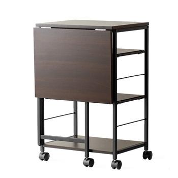 折りたためる天板付きのキッチンワゴンなら、活用の仕方もぐっと広がります!普段はコンパクトにまとめ、作業スペースが欲しいときだけ天板を広げられます。S字フックやタオルなどを掛けられるサイドバー付き。一台で何役もこなす優れものです◎