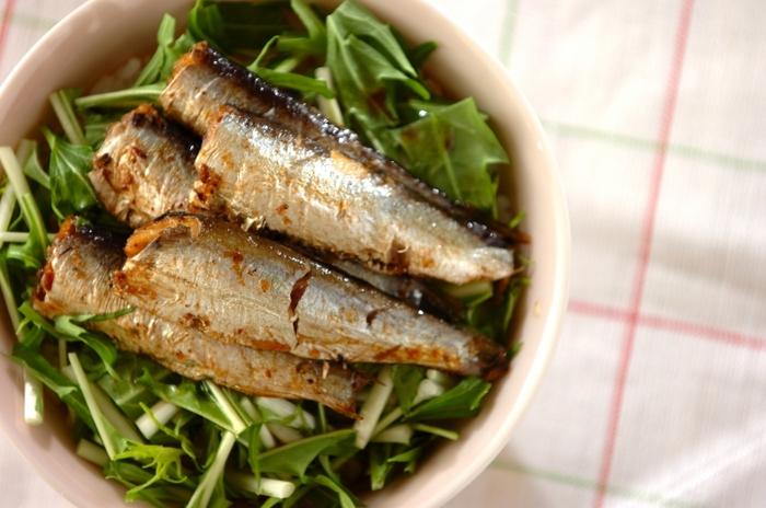 おうちに何もないという時は、水菜とオイルサーディンがあればあっという間に丼物が作れちゃいます。  オイルサーディンは一度フライパンで火を通します。味付けは醤油だけ。味付けも材料も究極のシンプル丼です。