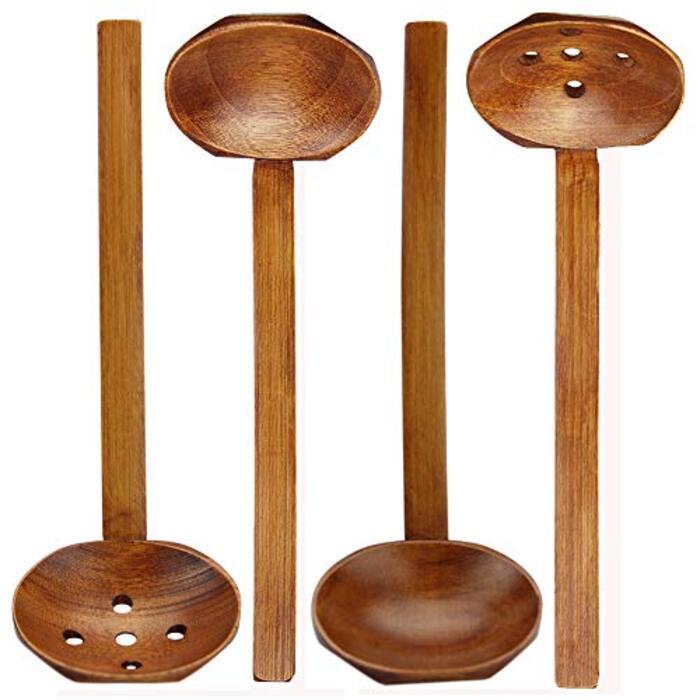 お玉 竹木製 4本 「おたま+穴あきおたま 2セット」 22cm