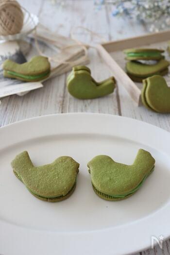 生地にもクリームにも抹茶を入れた、綺麗なグリーンのクッキーです。抹茶の苦みと練乳の甘みが良いバランス。ぜひお好きな型で作ってみてください!