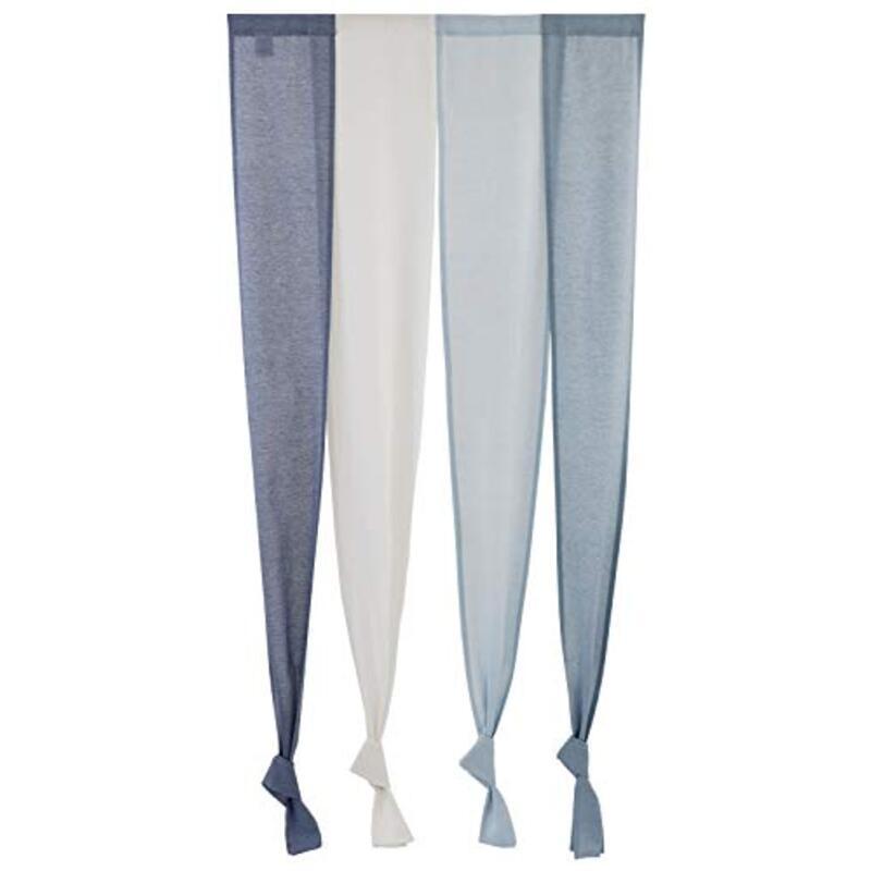 Sunny day fabric のれん セーヌ 幅85cm x 丈170cm ブルー 4連のれん