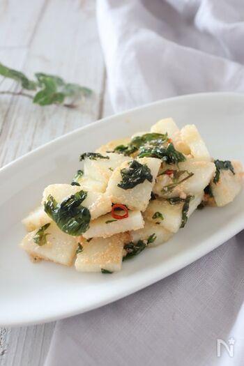 上記のレシピを活用して作った、「長いもたらこ炒め」です。大葉を加えることで奥行きのある風味に仕上がります♪