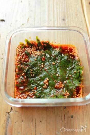 様々な料理の味の決め手になってくれそうな、大葉キムチ。こちらは冷蔵庫で1週間保存できます。