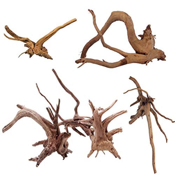 水族館シンクエイブル流木水槽の装飾 自然流木 爬虫類 6個入り 小 10-15cm
