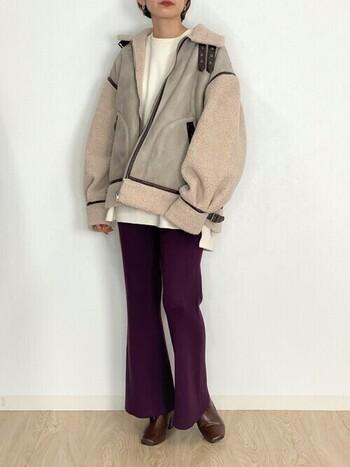 「ムートンジャケット」でおしゃれに防寒*ナチュラルな着こなしとケア方法