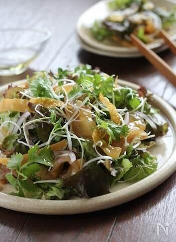 漬け汁に漬けた鯛のお刺身をサラダ仕立てに。たっぷりの野菜には、パリパリに揚げたワンタンの皮やカシューナッツで食感をプラス。  漬けた鯛をのせるのと、調味料をかけるのは、食べる直前がベストです。そのほうが、野菜が水っぽくならずに済みますよ。