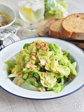 ツナの旨味と春キャベツの甘みに、くるみの食感が心地よい温サラダは、春の恵みをたっぷりと味わえるレシピです。ドレッシング代わりのハニーマスタードレモンソースは、まろやかな甘味と酸味がくせになる美味しさ!春菊やクレソンなどの香りの強い野菜をお好みで加えると、また違った味わいが楽しめますよ。