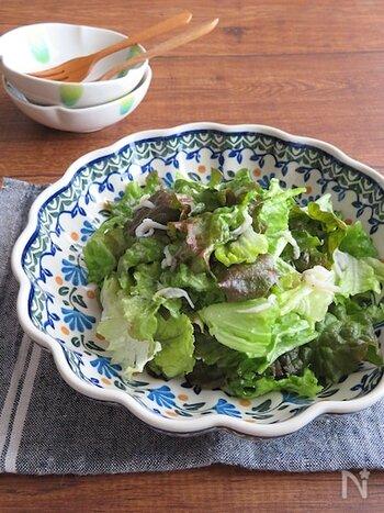 ちぎったサニーレタスを和風ベースのドレッシングと和えるだけの簡単レシピ。 しらすを加えることで、カルシウムが摂取できるのもうれしいポイントです。  お料理に取り入れにくいしらすも、サラダに利用すれば気軽に食べられますよ♪