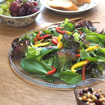 北欧の人気テーブルウェアブランド「iittala(イッタラ)」。 iittalaのガラス食器はラインナップがたくさんありますが、特におすすめのプレートはこちら。朝露をイメージしてつくられたという「カステヘルミ」シリーズのプレートです。この小さなガラスの粒たちがキラキラと光を反射し、それだけで食卓や料理が明るい印象に。