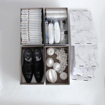 雑貨類はもちろん、漫画本やDVDもすっぽり入ります。また紳士用の靴も収納できるマルチサイズなので、靴箱の収納としてもおすすめです。
