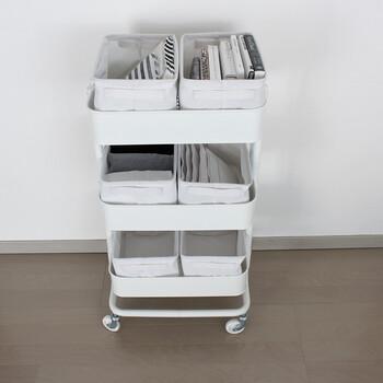こちらの収納ボックスはIKEAの人気ワゴン、ロースコグにシンデレラフィットします。リビングでペットグッズや赤ちゃんのお世話グッズを入れたり、キッチンで食品ストックを収納したりといろいろ使えますよ!
