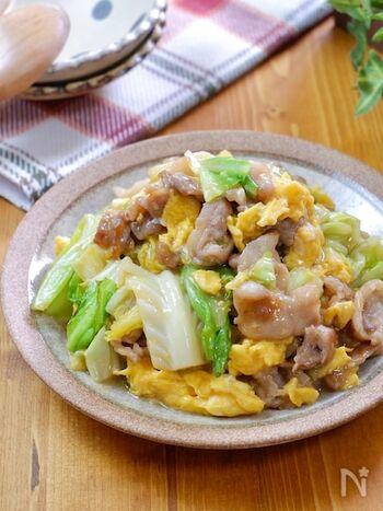 豚こま肉とキャベツ、卵で作る炒め物です。卵を先に炒めてから一旦取り出し、最後にサッと混ぜることで硬くなりすぎないようにするのがポイント。味の素を使って旨味をプラスしているのもおいしく作るコツです。