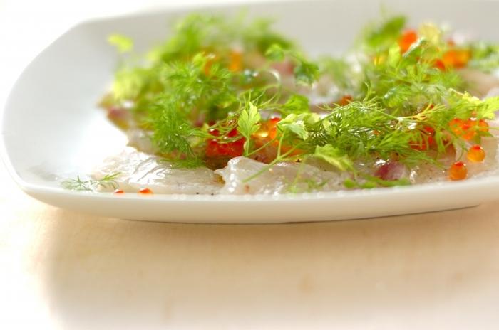 フレッシュハーブは生の魚介類特有の臭みを消してくれるので、いっしょにいただきたい食材です。 ビネガーやオリーブオイルの風味もアップしてくれるので、カルパッチョとの相性はばっちり。 ハーブをたっぷり食べたいときにおすすめなレシピです。