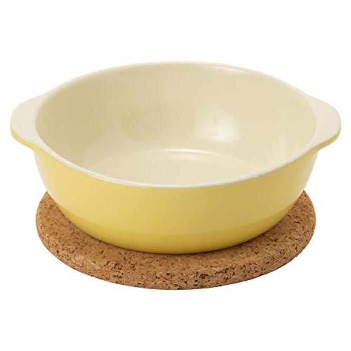 TAMAKI グラタン皿&コルクマット オーブンウェア イエロー 直径16.8×奥行15.2×高さ1cm 470ml オーブン対応 T-694107