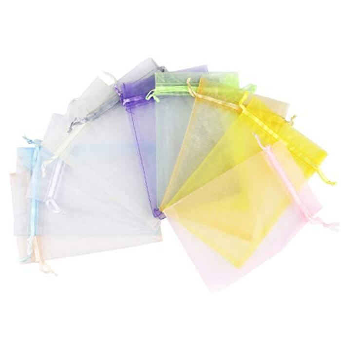 CCINEE オーガンジー巾着袋、ギフト、小物入れラッピング、キャンディポーチ 10*15cm 10色 共20枚 (ミックス)