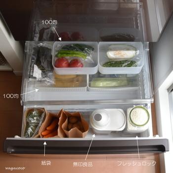 ニンジンやジャガイモ、玉ねぎなど汚れやすい野菜は紙袋。使いかけの中途半端な野菜はトレーを用意してのせて。トレーの野菜から優先的に使えば食品ロスも防げますよ。