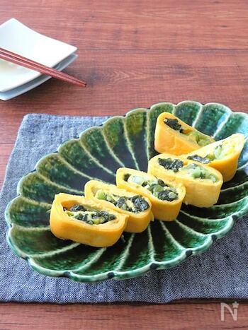 野沢菜のシャキシャキ食感が楽しい卵焼きです。野沢菜漬けは十分に塩気があるので、多くの調味料を足さなくてもそのまま美味しくいただけます。