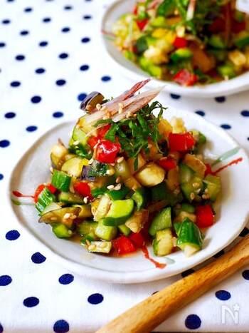 「やたら」とは、長野県で伝統的に食されている夏野菜のふりかけのようなお料理のこと。こちらのレシピは、なす・きゅうり・パプリカを使ってカラフルに仕上げています。青唐辛子を加えれば、野菜をたっぷりと摂取できるピリ辛&ヘルシーなおつまみの完成!