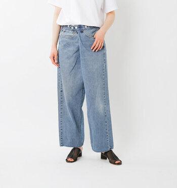 ヴィンテージアイテムのリメイクを主軸にしたブランドSunny Side Up(サニーサイドアップ)のデニム。ヴィンテージの風合いを生かす、独自のパターンが魅力です。履くだけで一目置かれそうな存在感。