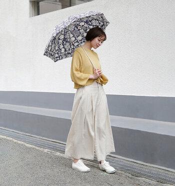 爽やかな印象な、「Cou Pole(クーポール)」の晴雨兼用リバティプリントバンブーハンドル折り畳み傘。優しく大人の女性らしさを感じる花柄をベースにしたデザインです。バンブーハンドルは、傘を持つ時に手に馴染む&心地よい肌触り。長く愛用できる上品なデザインですね。
