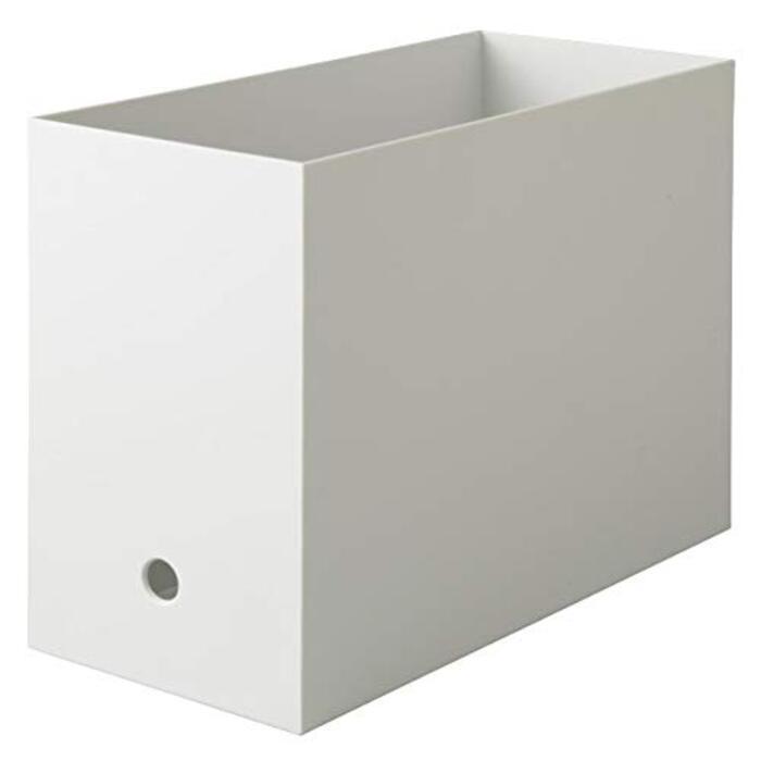無印良品 ポリプロピレンファイルボックス・スタンダードタイプ・ワイド・A4用 ホワイトグレー 約幅15×奥行32×高さ24cm 38907602