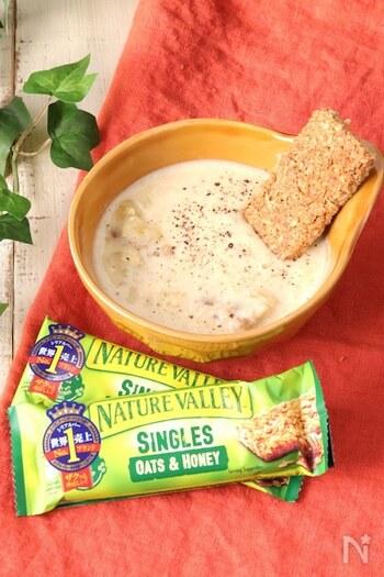 さつまいもには不溶性食物繊維と水溶性食物繊維の両方が含まれていて、食物繊維量はじゃがいものほぼ倍。腸活にぴったりの食材なんです。ビフィズス菌が多く含まれるミルクと一緒に煮て、さつまいもの甘いスープを楽しみましょう。