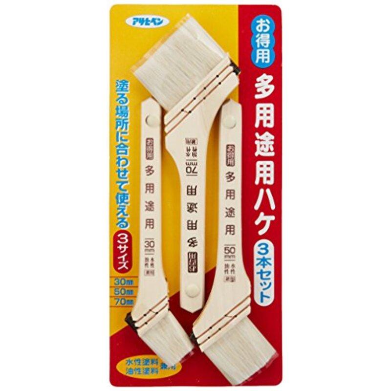 アサヒペン ペイント刷毛 お得用多用途用ハケ3本セット