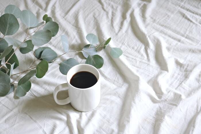 カフェインには覚醒作用があるので寝る前に摂取すると寝付きが悪くなってしまいます。1日中コーヒーばかり飲んでいる人は要注意!夕方以降はコーヒーや紅茶は避けて、ノンカフェインの飲み物に。